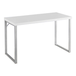 "48"" Computer Desk With Silver Metal Base, White"