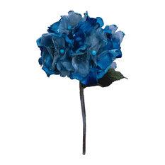 """29"""" Velvet Hydrangea 7"""" Flower, Aqua"""