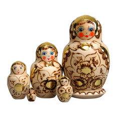 Russian 5 Piece Gold Floral Nested Doll Set