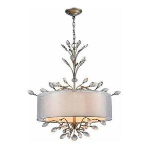 Elk-Lighting 16282/4 Asbury 4-Light Drum Chandelier, Aged Silver