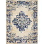 """Nourison - Nourison Grafix Area Rug, White, 5'3""""x7'3"""" - In intriguingly distressed shades of navy blue and white, this Grafix area rug from Nourison will elevate the elegance quotient of any room. Each rug is brilliantly bordered in traditional Persian rug style, and masterfully powerloomed for a lavish feel, long wear, and low maintenance."""