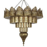 Badia Design Inc. - Intricately Designed Hand Punched Circular Brass Chandelier - Intricately Designed Hand Punched Circular Brass Chandelier