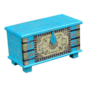 VidaXL Mango Wood Storage Chest, Blue