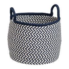 """Preve Basket - White & Navy 15""""x15""""x15"""""""