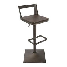LumiSource Samurai Barstool With Antique Frame And Espresso Wood