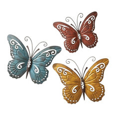 Collections Etc   Nature Inspired Metal Butterfly Decorative Wall Art Trio  Hang Indoor Or Outdoor