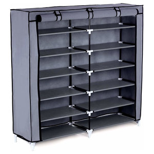 Modern Standing Storage Organizer in Fabric with Stainless Steel and 7 Shelves