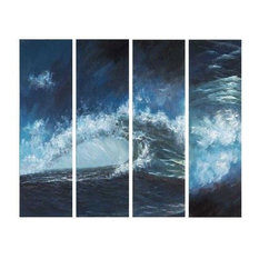"""Crashing Swell"" Canvas Wall Art, Blue, 4-Piece Set"