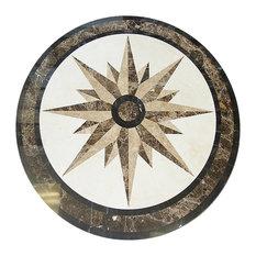 "Star Compass 36"" Floor Medallion Waterjet Cut Marble Beautiful Flooring"