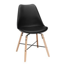 Black Plastic Dining Chair Vinyl Cushion Set Of 4