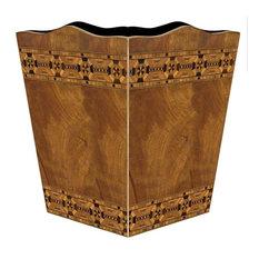 Inlaid Wood Wastepaper Basket