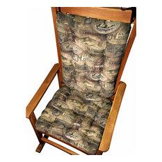 Barnett Home Decor   Woodlands Fish Camp Rocking Chair Cushions, Latex Foam  Fill, Rustic