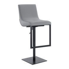 Victory Contemporary Swivel Barstool In Matte Black Finish And Gray Faux Leather