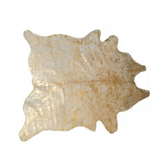 Scotland Cowhide Rug, 5'x7', Natural and Gold