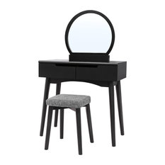 VASAGLE Vanity Set with  Mirror, Dressing Table, 2-Drawer, Black, Without Light
