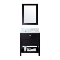 "Residence - Stannis Vanity, Espresso, Square Basin, With Mirror, 29"" - Bathroom Vanities and Sink Consoles"