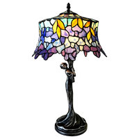 CHLOE Lighting SOPHIA Wisteria 1-Light Antique Dark Bronze Table Lamp, 13""