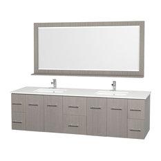 "Centra 80"" DBL Vanity, Square Porcelain Undermount Sinks, Gray Oak, White Stone"