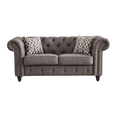 ACME Aurelia Loveseat With 2 Pillows Gray Linen