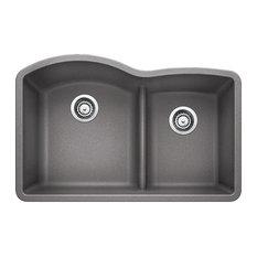 "Blanco 441590 32""x20.8"" Granite Double Undermount Kitchen Sink, Metallic Gray"