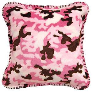 "Denali Camouflage Pink/Taupe Microplush Pillow, 18""x18"""