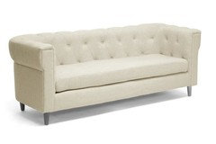 Cortland Beige Linen Modern Chesterfield Sofa Midcentury