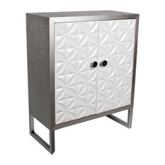 Floral Geometric Grey 2-Door Dresser