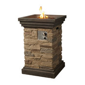 Slate Square Gas Fire Column With Cover, 29.13""