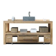 tikamoon meuble salle de bain en bois de teck brut 160 layang console et