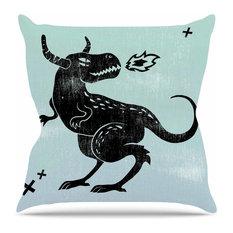 """Anya Volk """"Fire Monster"""" Throw Pillow"""