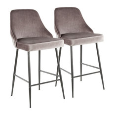 LumiSource - Marcel Counter Stool, Black Metal and Silver Velvet, Set of 2 - Bar Stools and Counter Stools