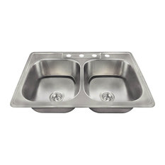 MR Direct Sinks And Faucets   US1022T Topmount Double Equal Bowl Stainless  Steel Sink   Kitchen