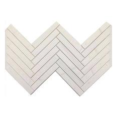 "Herringbone Honed Mosaic, Bianco Dolomite, 12""x12"""