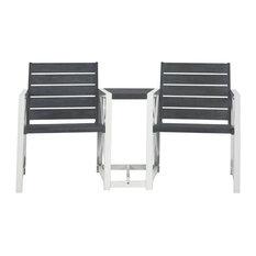 Safavieh Jovanna 2 Seat Bench, White Frame, Ash Gray Seat