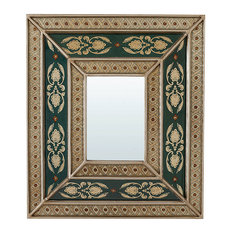 Handcrafted Green Painted Wall Mirror With Peruvian Decoration, 34x39 cm