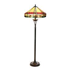 "RIDLEY, Tiffany-Style 2 Light Mission Floor Lamp, 18"" Shade"