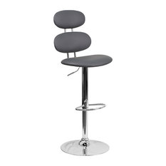 Flash Furniture Faux Leather Adjustable Bar Stool In Gray
