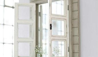Zauberhafter Landhaus Wandspiegel mit Fensterläden, Shabby Chic weiß,French Chic