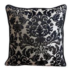 Black Damask 45x45 Burnout Velvet Decorative Cushion Cover, Damask Black