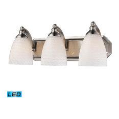 "Bathroom Vanity 3-Light LED With White Swirl Glass 20"", Satin Nickel"