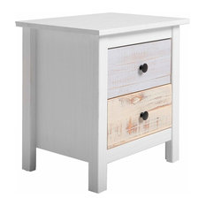Bedside Table With White Finished Frame and 2 Multi-Coloured Storage Drawers