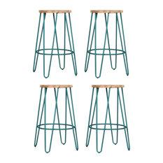 Hairpin Metal Leg Kitchen Stool, Natural Wood, Pastel Blue, Small, Set of 4