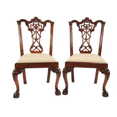 Solid Mahogany Chippendale Side Chairs, Set of 2