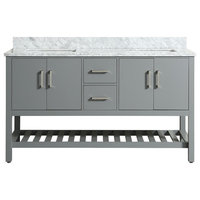 """Flora Gray Bathroom Vanity With Marble Top, 61"""" Charcoal Gray"""