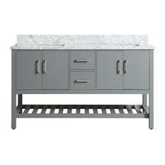 "Flora Gray Bathroom Vanity With Marble Top, 61"" Charcoal Gray"