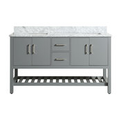 """Flora Bathroom Vanity With Marble Top, 61"""" Charcoal Gray"""
