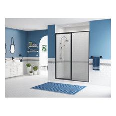"Legend Framed Hinge Swing Shower Door, Inline Panel, Matte Black, 44""x66"""