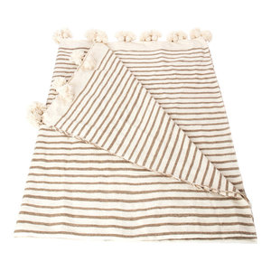 Moroccan Wool Pom Pom Striped Blanket, Beige and Natural