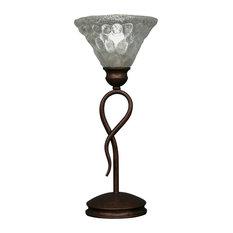 "Leaf Mini Table Lamp Bronze Finish W/7"" Italian Bubble Glass (35-BRZ-451)"