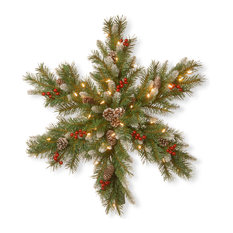 """30"""" Frosted Berry Snowflake With Battery Operated Warm White LED Lights"""